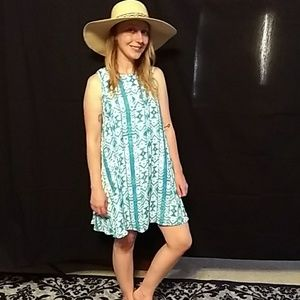 Lucca, blue and white, sleeveless, summer dress.